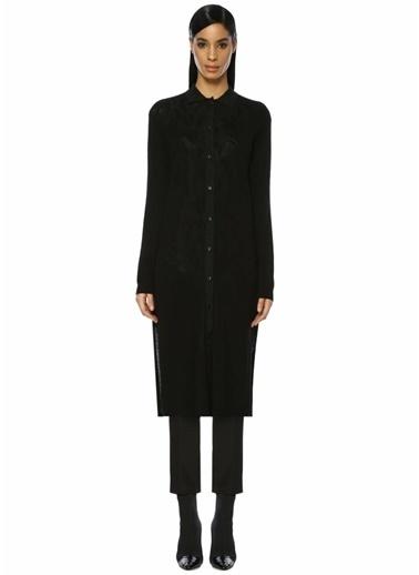Beymen Collection Simli Gömlek Yaka Midi Triko Elbise Siyah